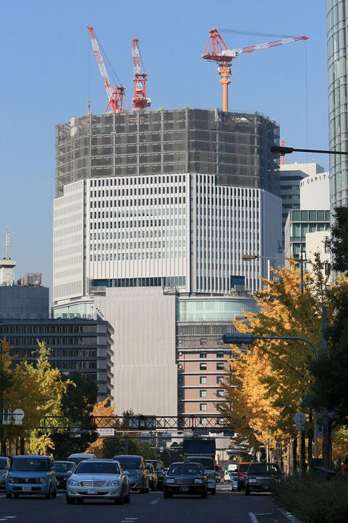 御堂筋の銀杏+建設中の梅田阪急ビル