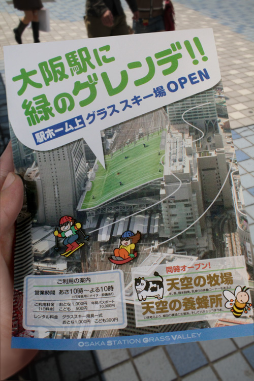 大阪駅のドーム屋根でグラススキー?b